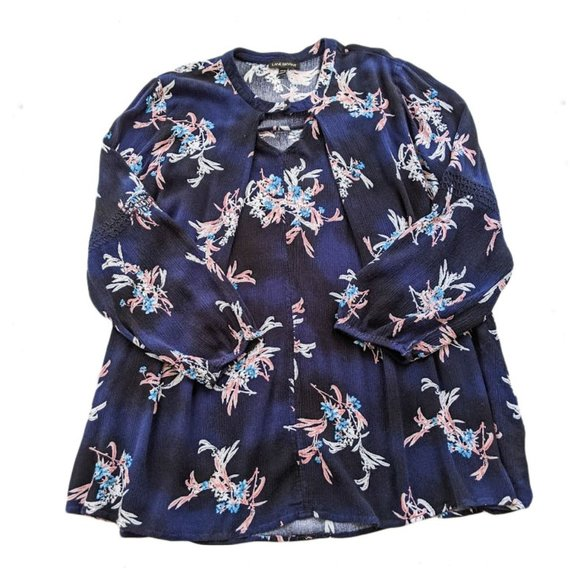 LANE BRYANT Floral Crinkle Tunic Top